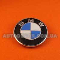 Эмблема BMW 73 мм на капот-багажник черный пластик