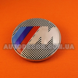 "Эмблема BMW 78 мм на капот-багажник ""клетчатый флаг"""