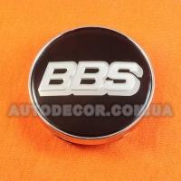 Колпачки заглушки на литые диски BBS (60/56/10) черные/хром логотип