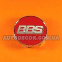 Колпачки заглушки на литые диски BBS (60/56/10) красные/хром логотип