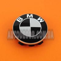 Колпачки заглушки на литые диски BMW (56/53/10) 6857149 103334 черно-белые