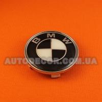 Колпачки заглушки на литые диски BMW (68.5/65/10) черно-белые