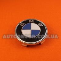 "Колпачки заглушки на литые диски BMW (68.5/65/10) ""бортик"" бело-синие"