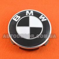 Колпачки заглушки на литые диски BMW (68.5/65/10) 36136783536 бело-черные