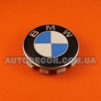 Колпачки заглушки на литые диски BMW (68.5/65/10) 36136783536 бело-синие