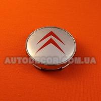 Колпачки заглушки на литые диски Citroen (60/56/10) серебристо-красные