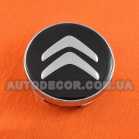 Колпачки заглушки на литые диски Citroen (60/56/10) черные-серебро