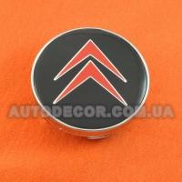Колпачки заглушки на литые диски Citroen (60/56/10) черно-красные