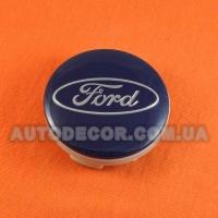 Колпачки заглушки на литые диски Ford (54/51/10) 6m21-1003-AA синие / хром лого