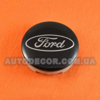 Колпачки заглушки на литые диски Ford (54/51/10) 6m21-1003-AA черные / хром лого