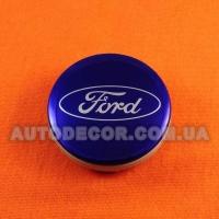 Колпачки заглушки на литые диски Ford (54/51/10) 6m21-1003-AA ярко-синие / хром логотип