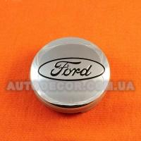 Колпачки заглушки на литые диски Ford (54/51/10) 6m21-1003-AA хром/черный логотип