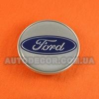 Колпачки заглушки на литые диски Ford (60/50/9) AC-908-5288 серые/хром логотип/полимер