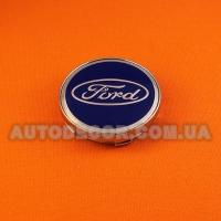 Колпачки заглушки на литые диски Ford (60/56/10) синий хром MC60N101