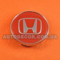 Колпачки заглушки на литые диски Honda (60/56/10) красные/хром лого