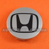 Колпачки заглушки на литые диски Honda (69/64/12) 44732-S9A-A00-1 серебристые/черный лого