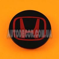 Колпачки заглушки на литые диски Honda (69/64/12) 44732-S9A-A00 черно-красные