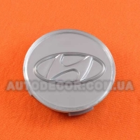 Колпачки заглушки на литые диски Hyundai (60/55/11) серебро полимер