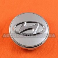 Колпачки заглушки на литые диски Hyundai (66/59/14) серебро хром