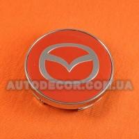 Колпачки заглушки на литые диски Mazda (60/56/10) MC60N101 красные/хром логотип