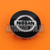Колпачки заглушки на литые диски Nissan (60/56/9) черные полимер
