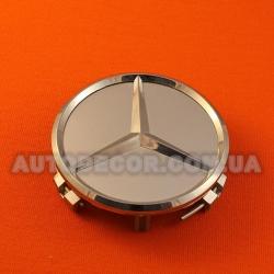 Колпачки заглушки на литые диски Mercedes (75/70/16) серебро/хром