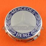 Колпачки заглушки на литые диски Mercedes (75/70/16) синий герб