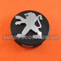 Колпачки заглушки на литые диски Peugeot (60/57/13) C-301 черные