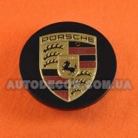 Колпачки заглушки на литые диски Porsche (64/48/14) 95B60150A черные глянец