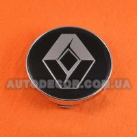 Колпачки заглушки на литые диски Renault (60/56/10) черные/хром логотип