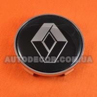 Колпачки заглушки на литые диски Renault (68.5/65/10) 36136783536 черные/логотип хром