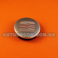 Колпачки заглушки на литые диски Seat 55/52/7 мм 6LL 601 171 серый/хром