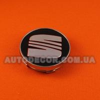 Колпачки заглушки на литые диски Seat 60/56/10 мм черные/хром