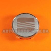 Колпачки заглушки на литые диски Seat 60/56/10 мм серебро/хром логотип