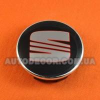Колпачки заглушки на литые диски Seat 63/57/12 мм, 1P0 601 165 черные/хром лого