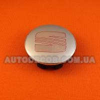 Колпачки заглушки на литые диски Seat 63/57/12 мм, 1P0 601 165 серебро/хром