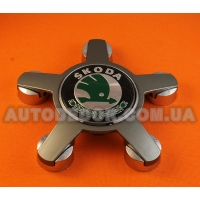 """Колпачки заглушки на литые диски Skoda (135/57/13) """"звезда"""" 4F0 601 165N зеленый логотип"""