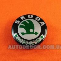 Колпачки заглушки на литые диски Skoda (56/52/7) 5JA601151A зеленые