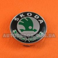 Колпачки заглушки на литые диски Skoda (60/56/10) зеленый логотип