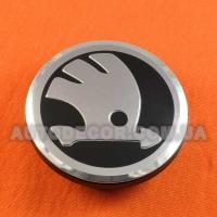 Колпачки заглушки на литые диски Skoda (65/56/12) 3B7601171 черные хром