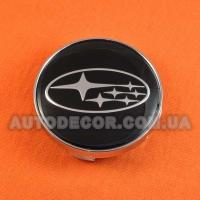 Колпачки заглушки на литые диски Subaru (60/56/10) черные/хром
