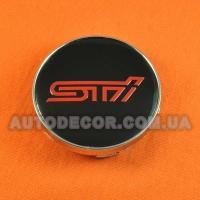 Колпачки заглушки на литые диски Subaru STI (60/56/10) черные/красный лого
