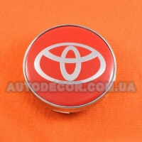 Колпачки заглушки на литые диски Toyota (60/56/10) красный