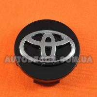 Колпачки заглушки на литые диски Toyota (62/60/14) черные/хром