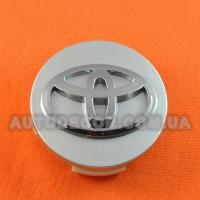 Колпачки заглушки на литые диски Toyota (62/60/14) серебро/хром