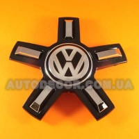 Колпачки заглушки на литые диски Volkswagen (166/56/20) C1035K166 звезда черная NEW
