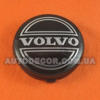 Колпачки заглушки на литые диски Volvo (64/61/10) 3546923 черные/хром лого