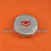 Колпачки заглушки на литые диски Vossen (60/56/10) хром/красный логотип