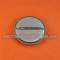 Колпачки заглушки на литые диски Vossen (68/62/10) хром/черный логотип