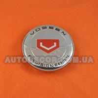 Колпачки заглушки на литые диски Vossen (68/62/10) красный логотип